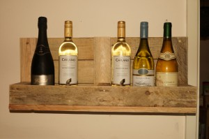 Wine rack made from end of a pallet